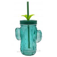 Verre Cactus avec paille et couvercle couleur vert bleu