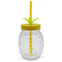 Verre Ananas avec paille et couvercle