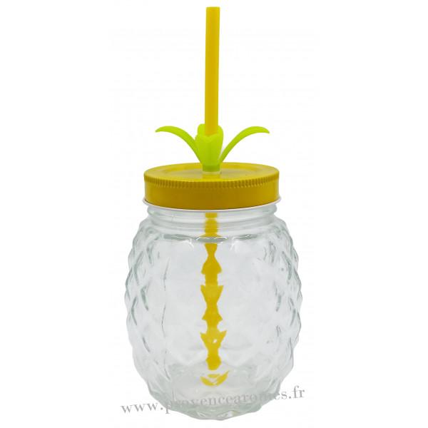 verre ananas avec paille et couvercle provence ar mes tendance sud. Black Bedroom Furniture Sets. Home Design Ideas