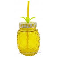 Verre Ananas avec paille et couvercle couleur Jaune
