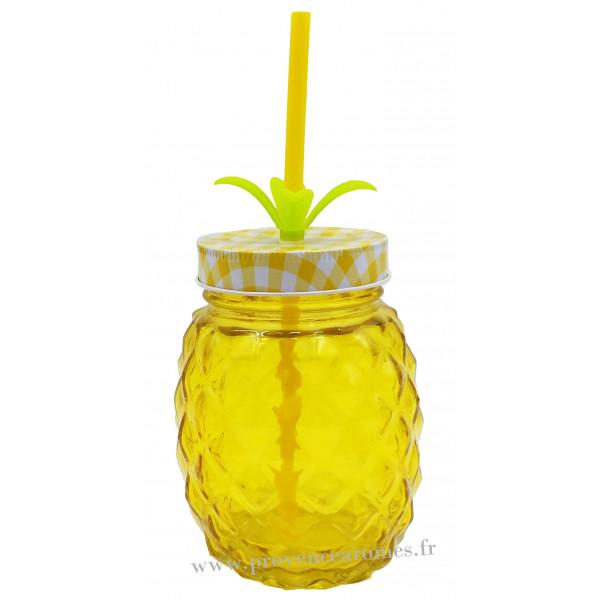verre ananas avec paille et couvercle couleur jaune provence ar mes tendance sud. Black Bedroom Furniture Sets. Home Design Ideas
