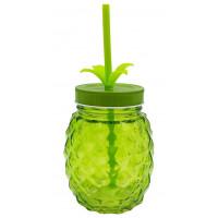 Verre Ananas avec paille et couvercle couleur vert