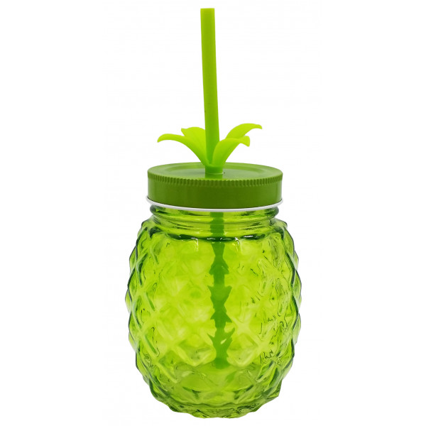 verre ananas avec paille et couvercle couleur vert provence ar mes tendance sud. Black Bedroom Furniture Sets. Home Design Ideas
