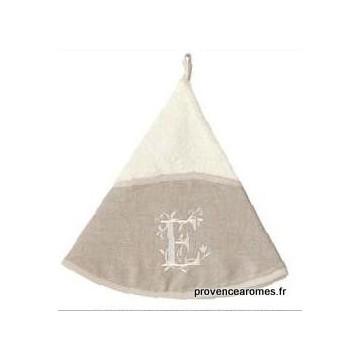serviette main ronde brodée personnalisée initiale lettre E