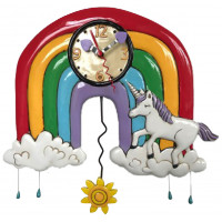 Horloge LICORNE ET ARC EN CIEL à balancier déco vintage Allen designs