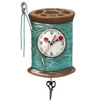 Horloge Bobine de fil et aiguille à balancier déco vintage designs Allen