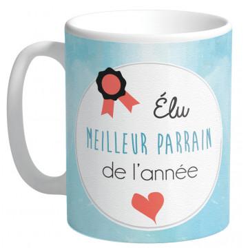 Mug Élu MEILLEUR PARRAIN DE L'ANNÉE collection Mugs petits messages
