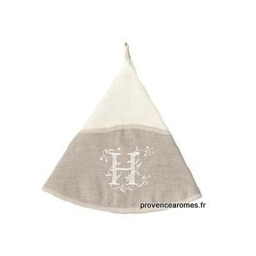 serviette main ronde brodée personnalisée initiale lettre H