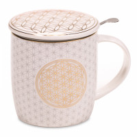 Mug FLEUR DE VIE avec passoire et couvercle