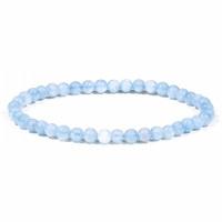Bracelet en Aigue marine pierre naturelle perles rondes 4-5 mm