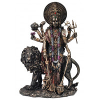 Statuette DURGA 28 cm effet bronze