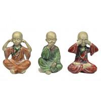 3 Statuettes Moines Tibétains de la sagesse 8 cm