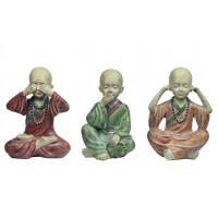 3 Statuettes Moines Tibétains de la sagesse 13 cm