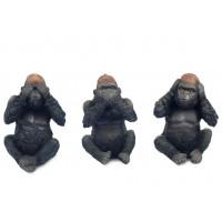 3 Statuettes GORILLE de la sagesse 12,5 cm
