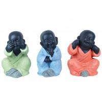 3 Statuettes Moines de la sagesse 24 cm