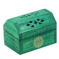Boîte brûle encens Cônes en bois couleur Vert