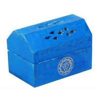 Boîte brûle encens Cônes en bois couleur Bleu
