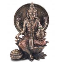 Statuette LAKSHMI assise 20 cm effet bronze