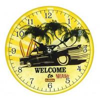 Horloge en verre WELCOME TO MIAMI déco rétro