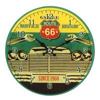 Horloge en verre ROUTE 66 déco rétro 17 cm