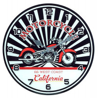 Horloge en verre MOTORCYCLE 66 WEST COAST California 30 cm