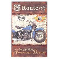 Panneau en bois moto bleue Route 66 American Dream déco rétro Vintage