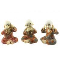 3 Statuettes Moines Tibétains de la sagesse 6,5 cm
