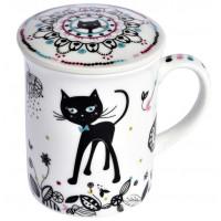 Mug avec passoire et couvercle CHAT MANDALA Foxtrot collection