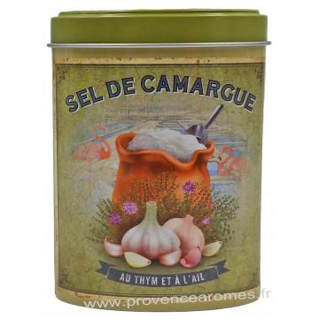 Sel de Camargue au Thym et à l'Ail Boîte saupoudreur déco rétro Esprit Provence