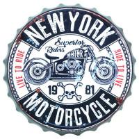 Plaque murale métal capsule NEW YORK MOTORCYCLE déco murale