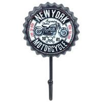 Patère capsule métal 1 crochet NEW YORK MOTORCYCLE déco rétro vintage