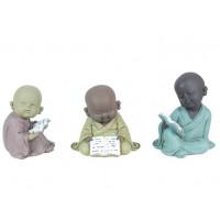 3 Statuettes Petits Moines lecture 14 cm