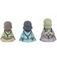 3 Statuettes Petits Moines méditent 11 cm