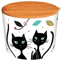 Pot bambou avec couvercle D10 cm CHAT MANDALA Foxtrot collection