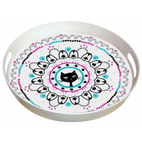 Plateau rond bambou CHAT MANDALA Foxtrot collection