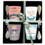 Coffret 4 Tasses à café et cuillères messages Petits Bonheurs/ Grain de folie