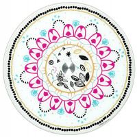 Plat tournant en verre 35 cm CHAT MANDALA Foxtrot collection