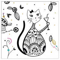 Serviettes en papier CHAT MANDALA Foxtrot collection