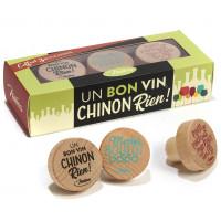 Coffret de 3 Bouchons UN BON VIN CHINON RIEN Natives déco rétro vintage