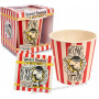 Pot rond en bambou + serviettes KING OF POP'CORN Natives déco rétro vintage