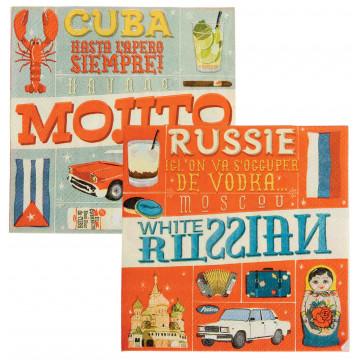 Serviettes en papier COCKTAILS DU MONDE Natives déco rétro vintage