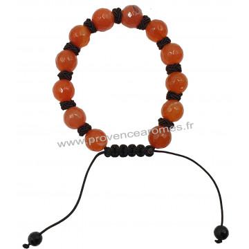 Bracelet Shamballa en Cornaline pierre naturelle perles rondes facettées 8-10 mm