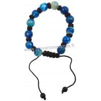 Bracelet Shamballa en Calcédoine pierre naturelle perles rondes facettées 8-10 mm