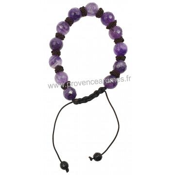 Bracelet Shamballa en Améthyste pierre naturelle perles rondes facettées 8-10 mm