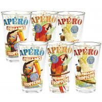 Coffret de 6 verres TROPICOLE Natives déco rétro vintage