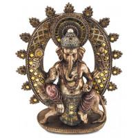Statuette GANESH assis sur la souris Mushika 28,5 cm effet bronze