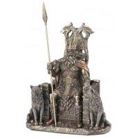 Statuette ODIN assis dieu nordique 21 cm effet bronze