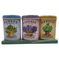 Coffret 3 petites Boîtes Herbes Provence - Lavande alimentaire - Basilic déco rétro Esprit Provence