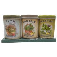 Coffret 3 petites Boîtes Thym - Romarin - Menthe déco rétro Esprit Provence
