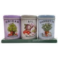 Coffret 3 petites Boîtes Origan - Ail - Sarriette déco rétro Esprit Provence